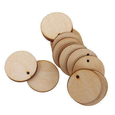 100x Wooden Round Unfinished Blank Scrapbooking Wedding Party Gift Tags 30mm