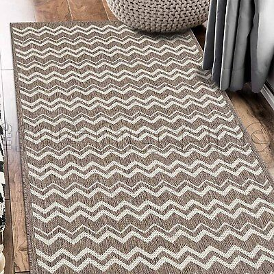 PARADISO BEIGE CHEVRON INDOOR OUTDOOR FLATWEAVE FLOOR RUG RUNNER 67x235cm **NEW*