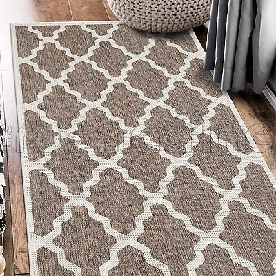 PARADISO BEIGE MOROCCAN INDOOR OUTDOOR FLATWEAVE FLOOR RUG RUNNER 67x235cm **NEW