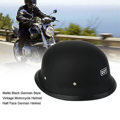 Matte Black German Style Vintage Motorcycle Helmet Half Face German Helmet AU