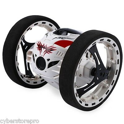 PEG SJ88 2.4G Remote Control Jumping Car 2s Rotation Bounce RC Toy WHITE