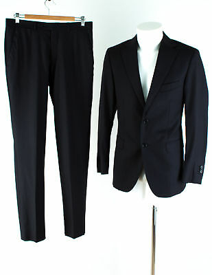 Massimo Dutti Anzug Gr. 48 Wolle Slim Fit Sakko Hose Business Suit Jacket Pants