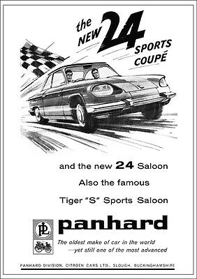 Panhard 24 Sports Coupe Retro A3 Poster Print From 60's Advert
