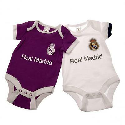 Real Madrid Fc 16/17 2 Pack Bodysuit Baby Vest Football Kit - BRAND NEW wth TAGS