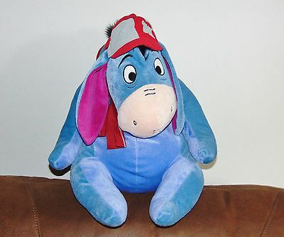 "Disney Eeyore Schoolboy with Hat & ScarfPlush - RARE Large 20"" - Removable Tail"