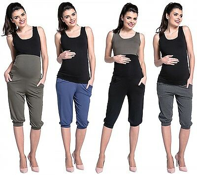 Zeta Ville -Women's stretch maternity trousers pockets elastic belly band - 665c