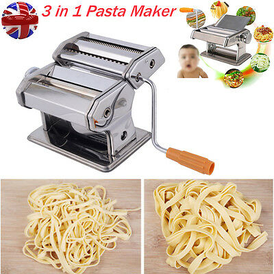 3 in 1 Multiple Steel Fresh Pasta Maker Spaghetti Fettuccine Hand Cutter Machine