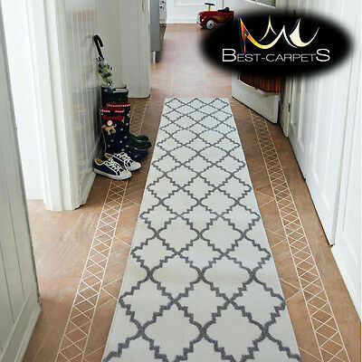 Modern Thick Hall Runner SKETCH TRELLIS white Width 80-120cm extra long Stairs