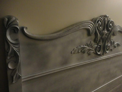 Antique Queen-Full Size Hand Carved Ornate Oak Wood Headboard