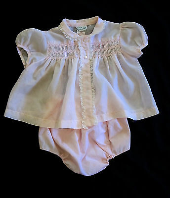 Baby Girl Duets by Little Craft 2 Piece Outfit Vintage Pink Smocked Lace 1950's
