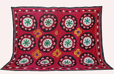 Large Uzbek Hand Embroidered Silk On Cotton Old Suzani Of Baysun Bek-54