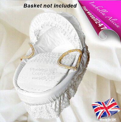 White Broderie Anglaise Replacement Moses Basket Dressing Set Covers & Hood Rods