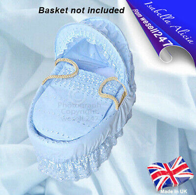 Blue Broderie Anglaise Replacement Moses Basket Dressing Set Covers & Hood Rods