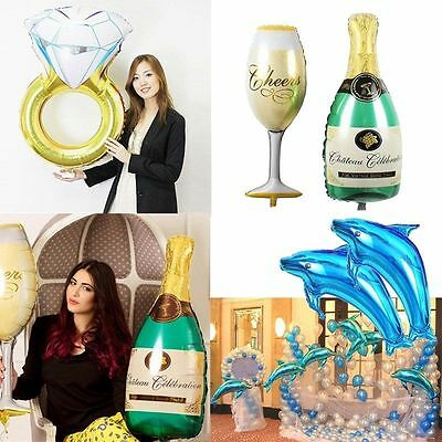 2pcs Diamond Ring Dolphin Foil Helium Balloons Birthday Wedding Party Decoration