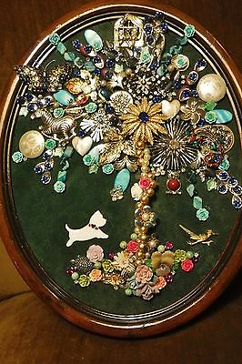 Jewelry Tree of Life, Blue highlights, Vintage Frame, signed by Artist
