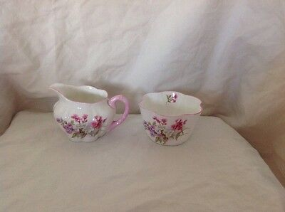 Vintage Shelley Fine Bone Pink & Purple Floral Creamer & Sugar Bowl Rd272101