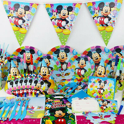 Disposable Mickey Event Birthday Party Tableware Plate Banner Napkins Cup