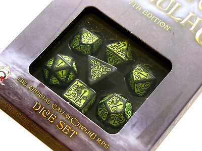 Q-Workshop Call of Cthulhu Black with Green 7th Edition Dice Set (7 Piece Set)