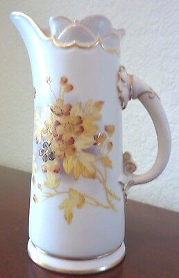 Royal Worcester Pitcher #1229 Shell Rim Cream Ewer Antique Floral English 1890