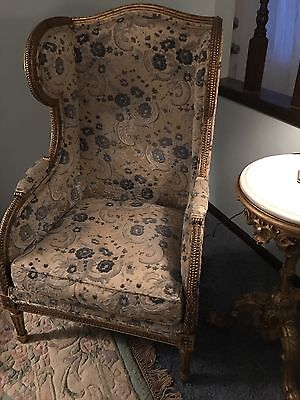 French Chair Gold Gilded Blue & White