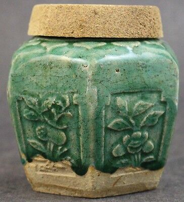 Vintage Chinese Export Deep Green Glazed Earthenware Pottery Ginger Jar w Lid