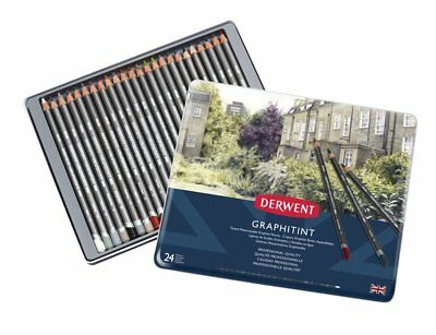 Derwent Graphitint 24 Tin Set of Tinted Graphite Water Soluble Colour Pencils