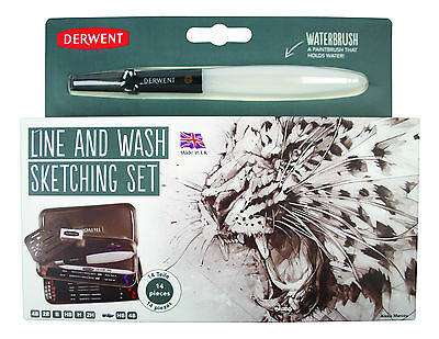Derwent Line and Wash Sketching Tin Set with Water-Soluble Pencils & Water Brush