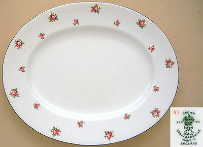 """Crown Staffordshire: Roses: Oval Serving Platter: 11¼"""" x 9"""""""