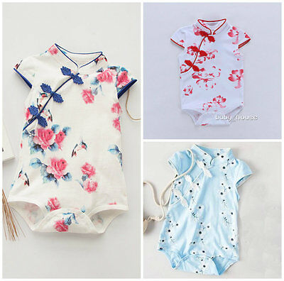 1pc baby clothes infant girls summer cotton bodysuit Chinese-style dress floral