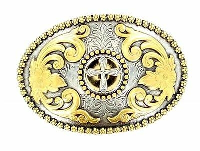 Nocona Western Belt Buckle  Oval Cross Gold Silver 3756645