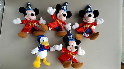 "NWT lot of 4 Disney Fantasia Sorcerer Mickey Mouse Plush 10"" & 1 Donald Duck"