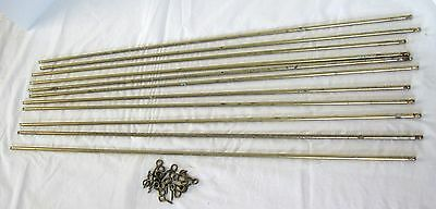 "11 Brass Finish 30""L Stair Rods for Carpeted Stairs, includes screw eyes"