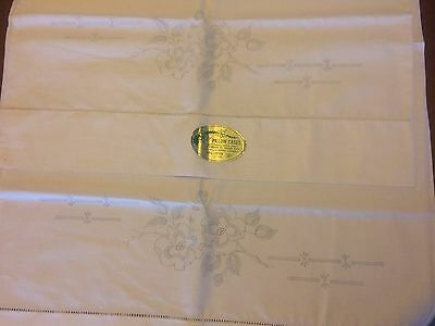 "2 VTG Stamped Cotton Pillowcases To Embroider FLOWERS 20"" x 31"" NEW"