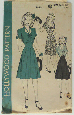 Vintage Hollywood Pattern #1315 One Piece Dress 16/Bust 34/Hip 37 Sewing Used