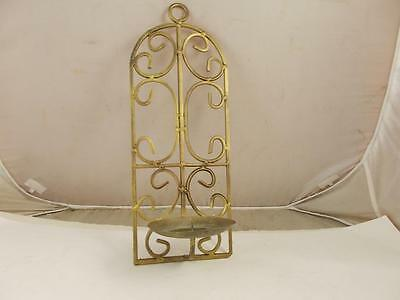 Wrought Iron Metal Scroll Wall Sconce Pillar Candle Holder Antique Gold