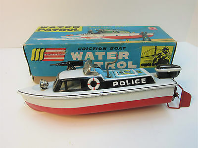 Tin Friction Water Patrol Police Boat SSS Japan Boxed