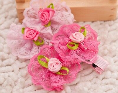 Pet Dog Hair Clips Bows Flower Style Pink Rose Rubber Band Party Dog Grooming