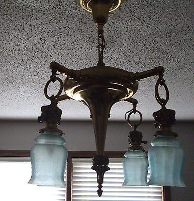 Antique Art Noveau Victorian Brass Ceiling Light Lamp Fixture Acid Etched Shades