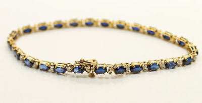 15 Carat Synthetic Sapphire & Natural Diamond Bracelet in 10K Yellow Gold