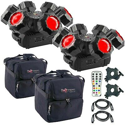 2 Chauvet DJ Helicopter Q6 Rotating Multi-Effect Light w Remote and Case Package