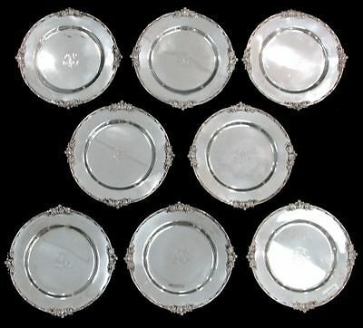 "Outstanding Vintage 8 Theodore Starr Sterling Silver 10"" Plates"
