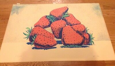 Aaron Fink Signed Limited Edition Print Still Life Strawberries  1984 43/500