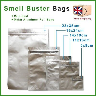 Smell Proof Bags Food & Herb Stash Odour Buster Grip Lock Mylar / Aluminum Foil
