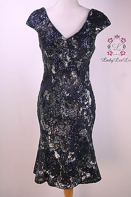 72e8d93a716 Antonio Melani Hadley Sequin Mesh Cap Sleeve Sheath Dress Blue Grey Size 2  NWT