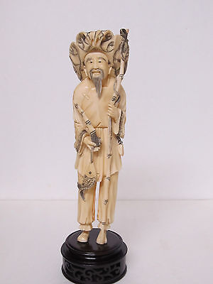Fine Old Chinese Carved Fisherman Figure Statue
