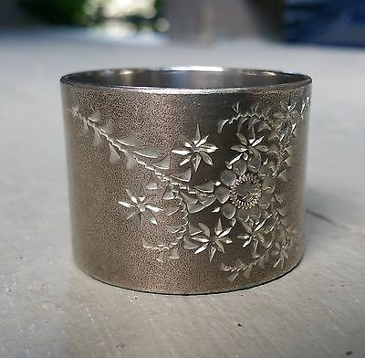 Antique Victorian Silverplate / Silver Plate Napkin Ring w/ Bright Cut Design