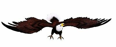 "Large 17"" Length Bald Eagle With Spread Out Wings Wall Plaque Mount Figurine"