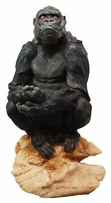 "African Jungle Gorilla Ape on Rock Figurine 13"" Tall Wild Life Statue Resin Made"