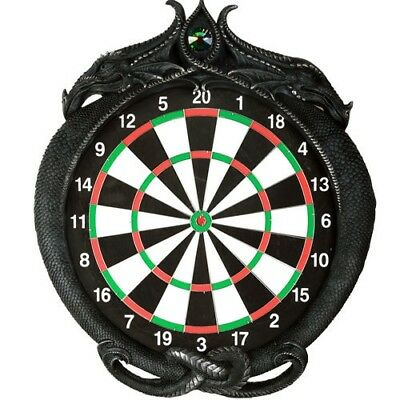 "20.5""H Gothic Dark Medieval Dragon Dart Board Wall Sculpture Decorative Game"