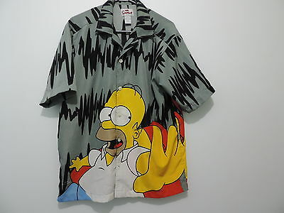 *RARE* VINTAGE HOMER SIMPSON *DUFF BEER* short/sleeve button-down SHIRT Size S